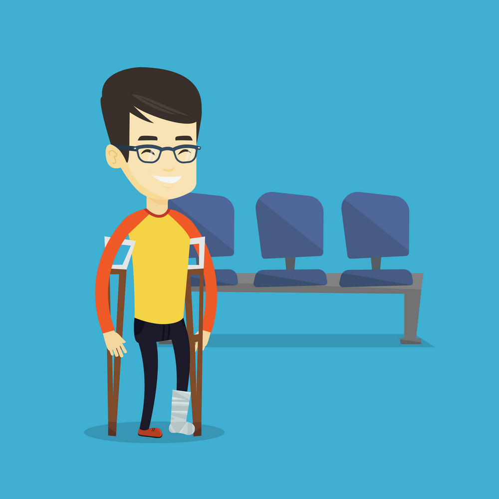 An injured asian man with leg in plaster. Young man with broken leg using crutches. Smiling man with fractured leg in bandage. Vector flat design illustration. Square layout.