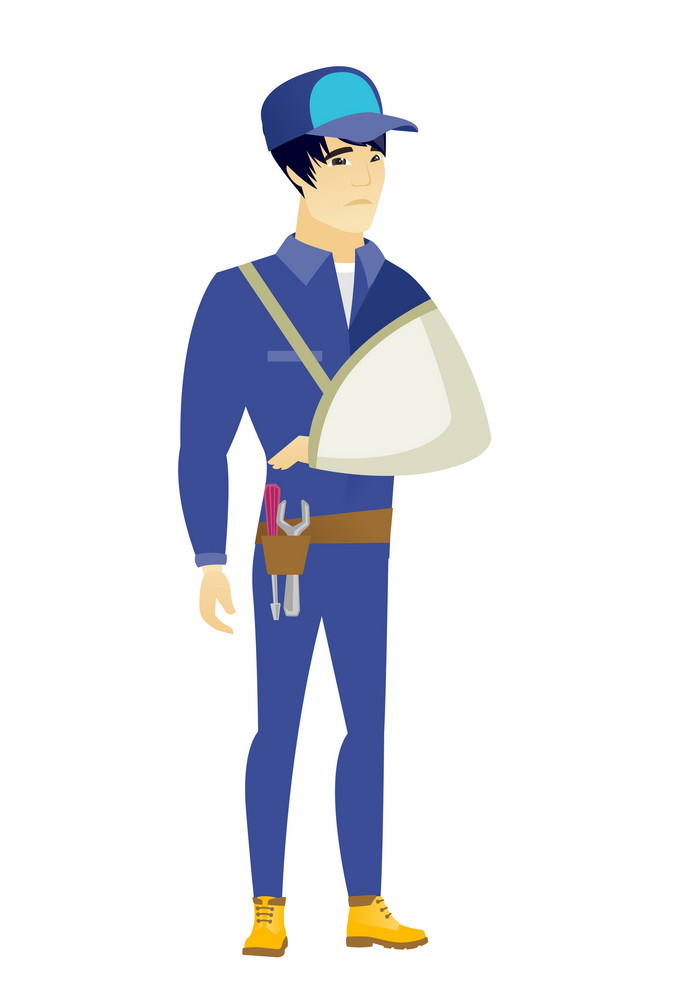 An injured asian mechanic wearing an arm brace. Young mechanic with broken arm in sling. Full length of mechanic with broken arm. Vector flat design illustration isolated on white background.