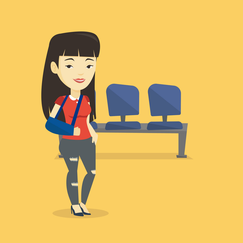 An injured asian woman wearing an arm brace. Young smiling woman standing with her broken right arm. Cheerful woman with broken arm in a cast. Vector flat design illustration. Square layout.