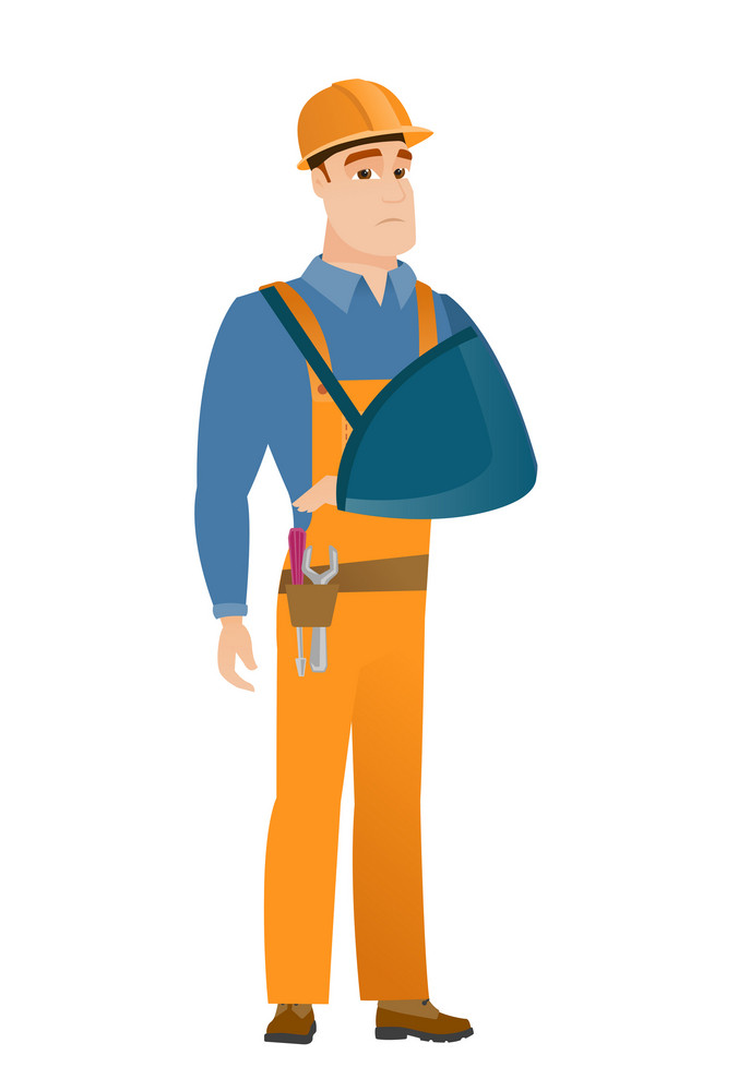 An injured caucasian builder wearing an arm brace. Young builder with broken arm in sling. Full length of builder with broken arm. Vector flat design illustration isolated on white background.