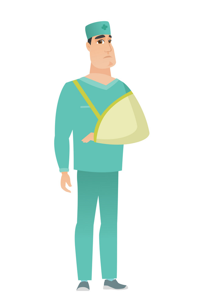 An injured caucasian doctor wearing an arm brace. Doctor with broken arm in sling. Full length of doctor in uniform with broken arm. Vector flat design illustration isolated on white background.