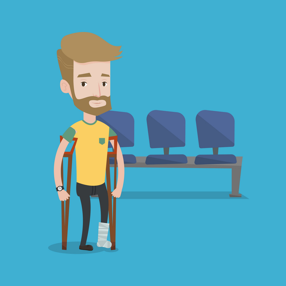 An injured hipster man with the beard with leg in plaster. Man with broken leg using crutches. Young man with fractured leg in the hospital corridor. Vector flat design illustration. Square layout.