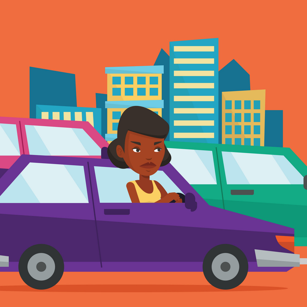 Angry african-american car driver stuck in a traffic jam. Irritated young woman driving a car in a traffic jam. Agressive driver honking in traffic jam. Vector flat design illustration. Square layout.