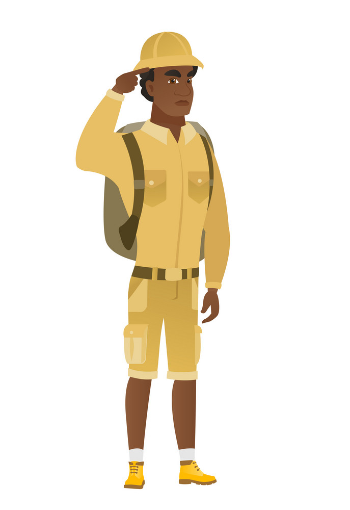 Angry african-american traveler gesturing with his finger against his temple. Full length of traveler twisting his finger against temple. Vector flat design illustration isolated on white background.