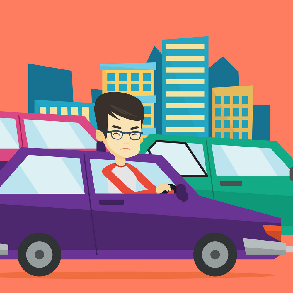 Angry asian car driver stuck in a traffic jam. Irritated young man driving a car in a traffic jam. Agressive driver honking in a traffic jam. Vector flat design illustration. Square layout.