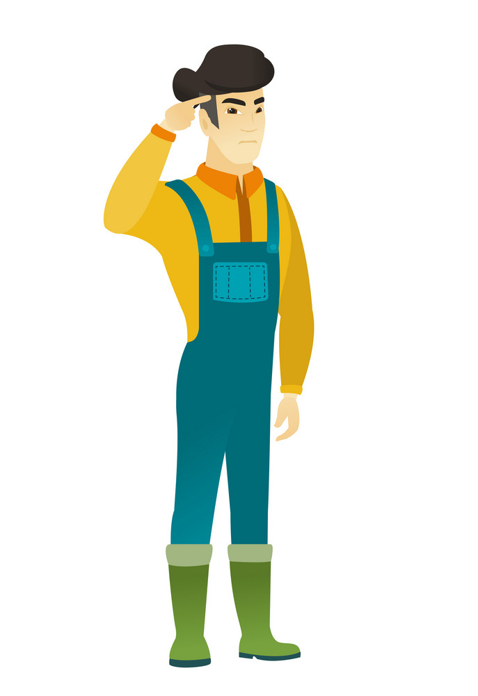 Angry asian farmer gesturing with his finger against his temple. Full length of farmer in coveralls twisting his finger against temple. Vector flat design illustration isolated on white background.