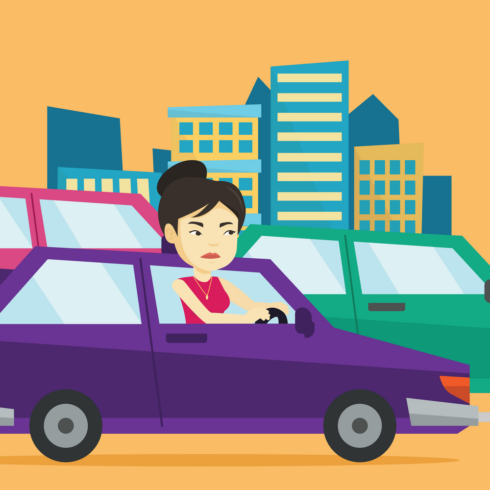 Angry asian female car driver stuck in a traffic jam. Irritated young woman driving a car in a traffic jam. Agressive driver honking in traffic jam. Vector flat design illustration. Square layout.