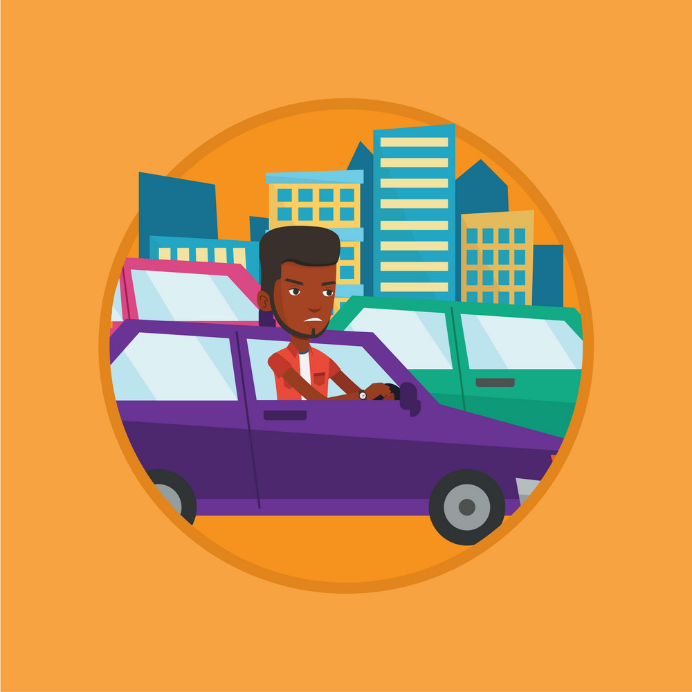 Angry car driver stuck in a traffic jam. Irritated man driving a car in a traffic jam. Agressive driver honking in traffic jam. Vector flat design illustration in the circle isolated on background.