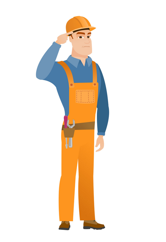Angry caucasian builder gesturing with his finger against his temple. Full length of young builder twisting his finger against temple. Vector flat design illustration isolated on white background.