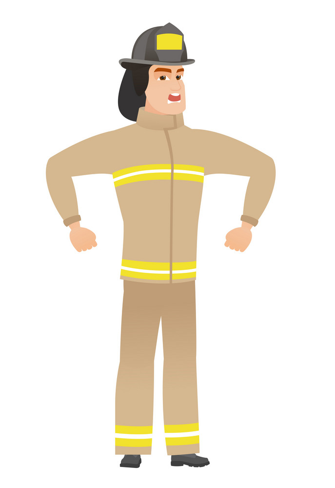 Angry firefighter in uniform screaming. Full length of angry firefighter clenching fists. Angry firefighter shouting with raised fists. Vector flat design illustration isolated on white background.