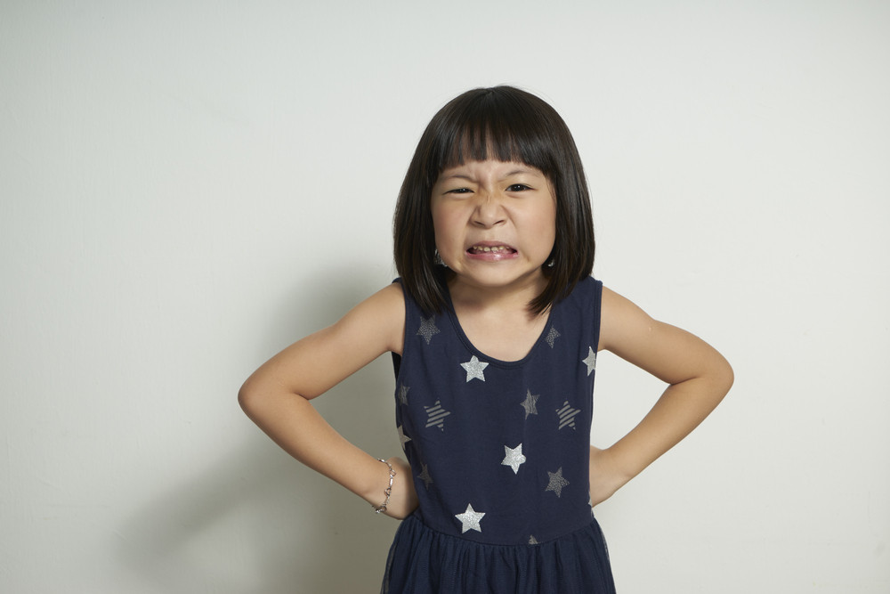 Angry little girl, Isolated on white