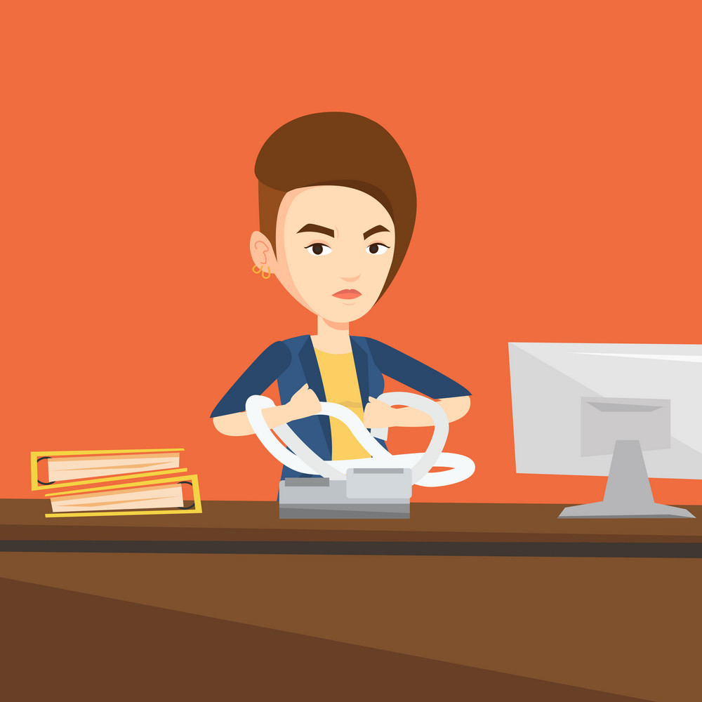 Annoyed caucasian business woman sitting in office and tearing furiously bills. Young angry business woman calculating bills. Vector flat design illustration. Square layout.