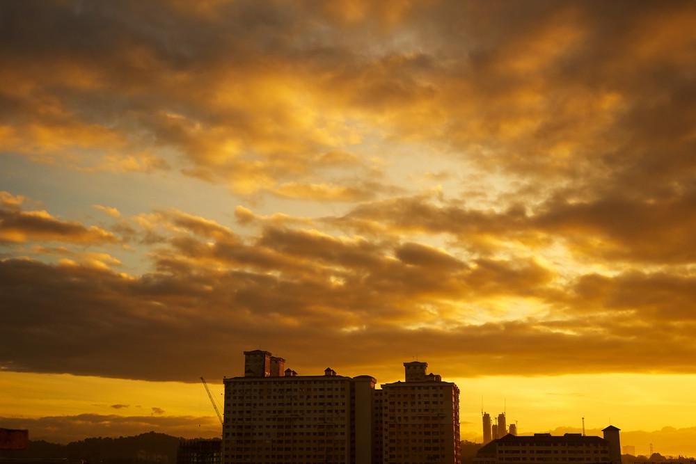 apartment silhouette at sunrise
