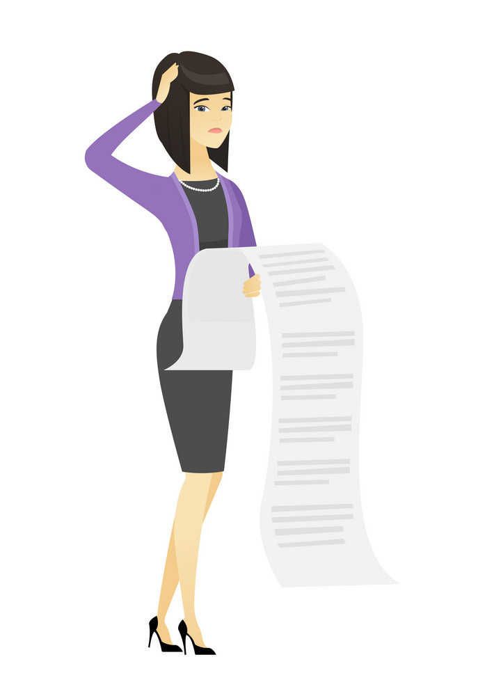 Asian accountant standing with long bill in hands. Anxious accountant holding long bill. Young worried accountant looking at long bill. Vector flat design illustration isolated on white background.