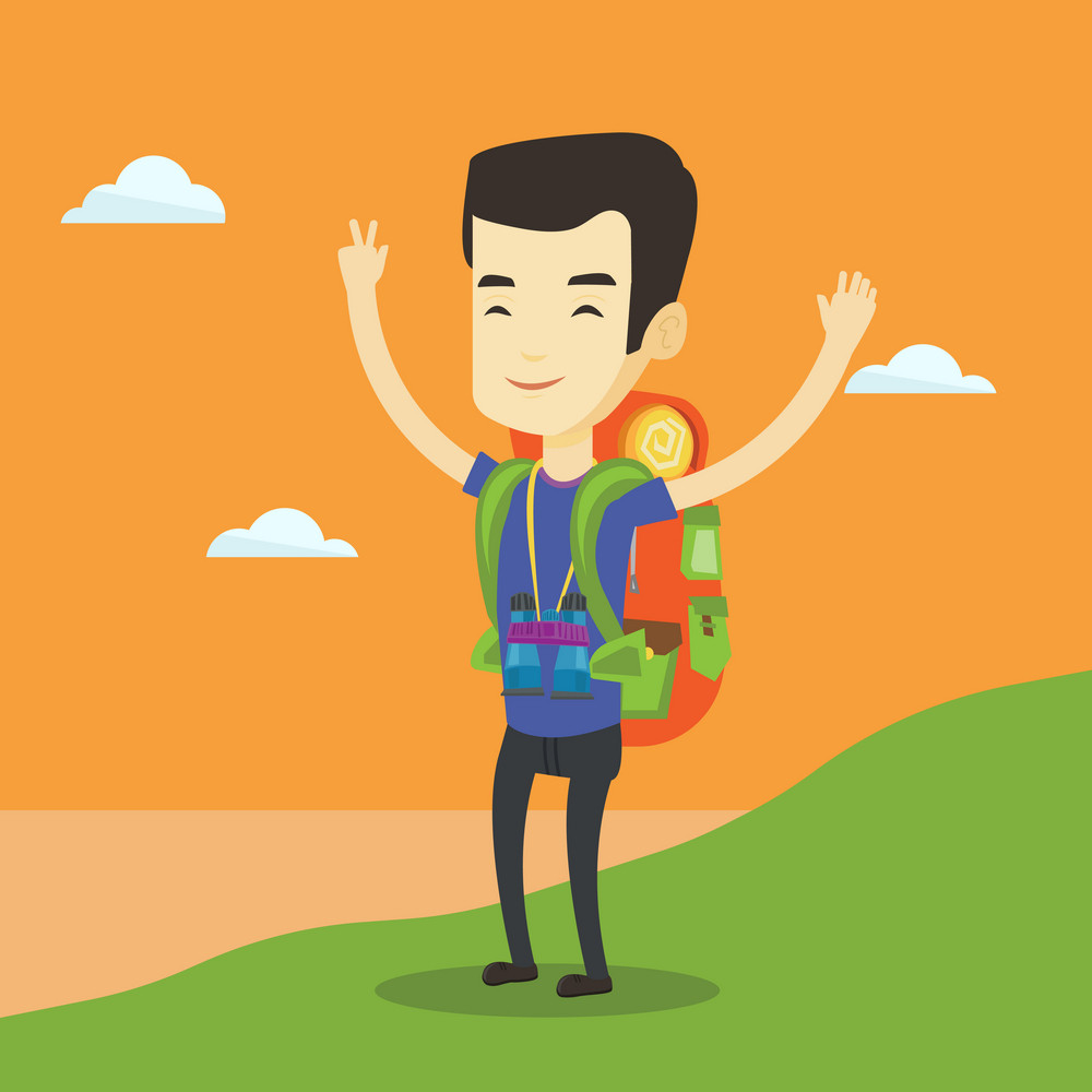 Asian backpacker standing on the cliff and celebrating success. Young happy backpacker with raised hands enjoying the scenery. Man hiking in mountains. Vector flat design illustration. Square layout.