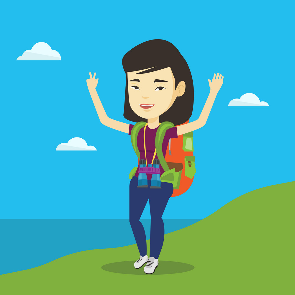 Asian backpacker standing on the cliff and celebrating success. Young happy backpacker with raised hands enjoying the scenery. Woman hiking in mountains. Vector flat design illustration. Square layout