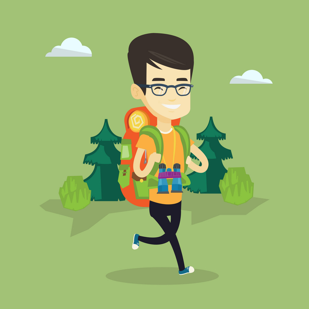 Asian backpacker with backpack and binoculars walking outdoor. Young backpacker hiking in the forest during trip. Happy backpacker traveling in nature. Vector flat design illustration. Square layout.
