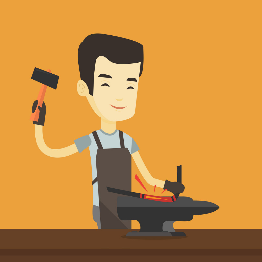 Asian blacksmith working metal with hammer on the anvil in the forge. Blacksmith at work in smithy. Blacksmith forging the molten metal on anvil. Vector flat design illustration. Square layout.