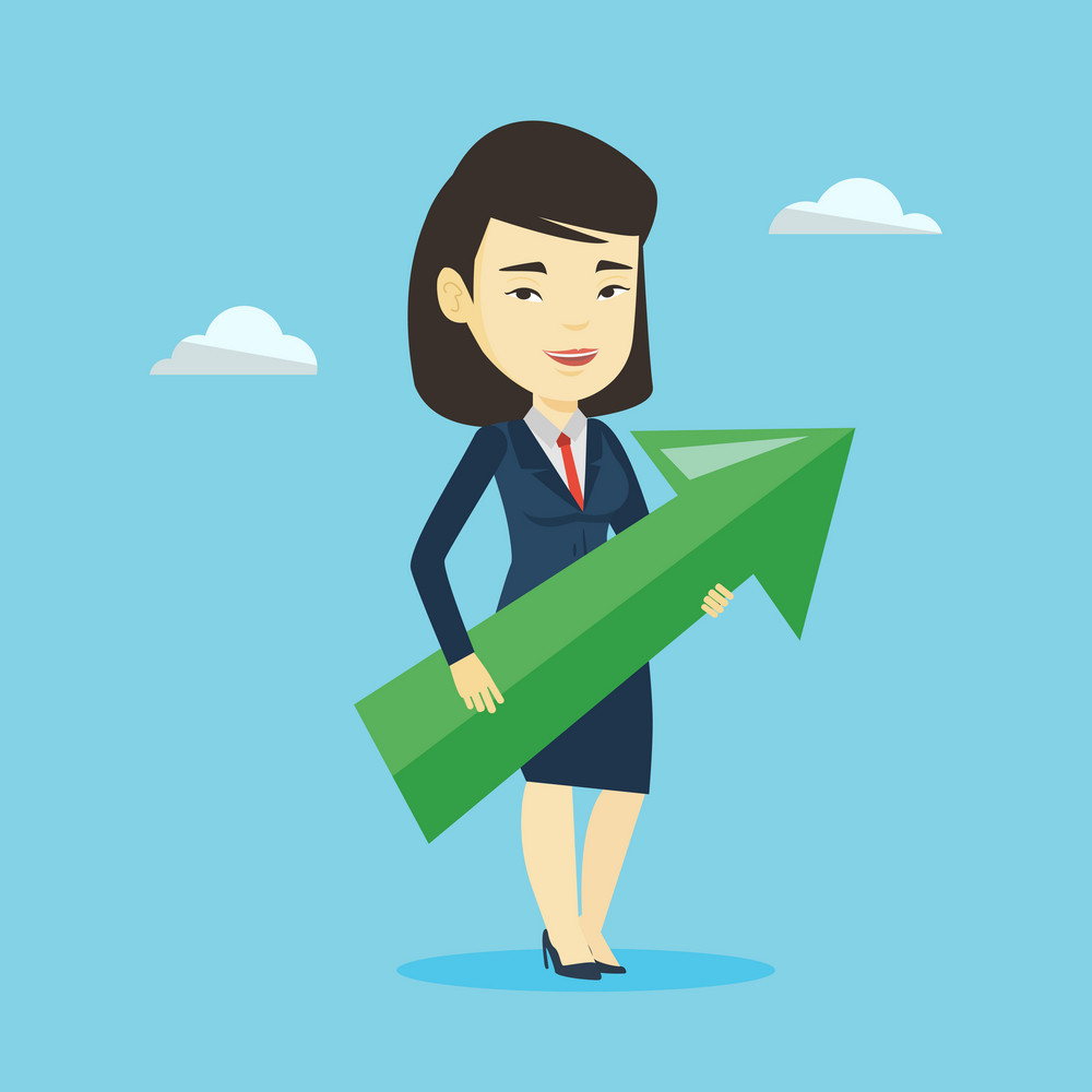Asian bsinesswoman thinking about the strategy of business growth. Businesswoman holding big arrow representing business growth. Business growth concept. Vector flat design illustration. Square layout