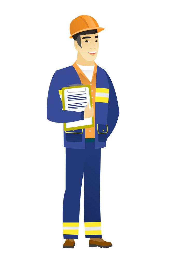Asian builder holding clipboard with papers. Full length of young builder with papers. Young smiling builder holding papers. Vector flat design illustration isolated on white background.