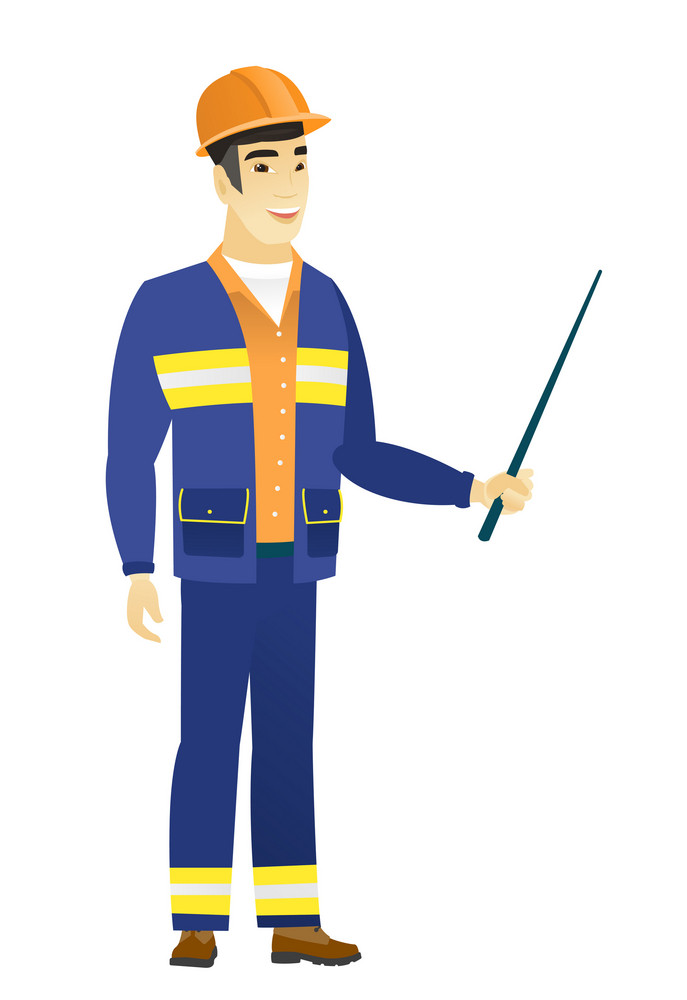 Asian builder holding pointer stick. Full length of young builder with pointer stick. Builder pointing with pointer stick. Vector flat design illustration isolated on white background