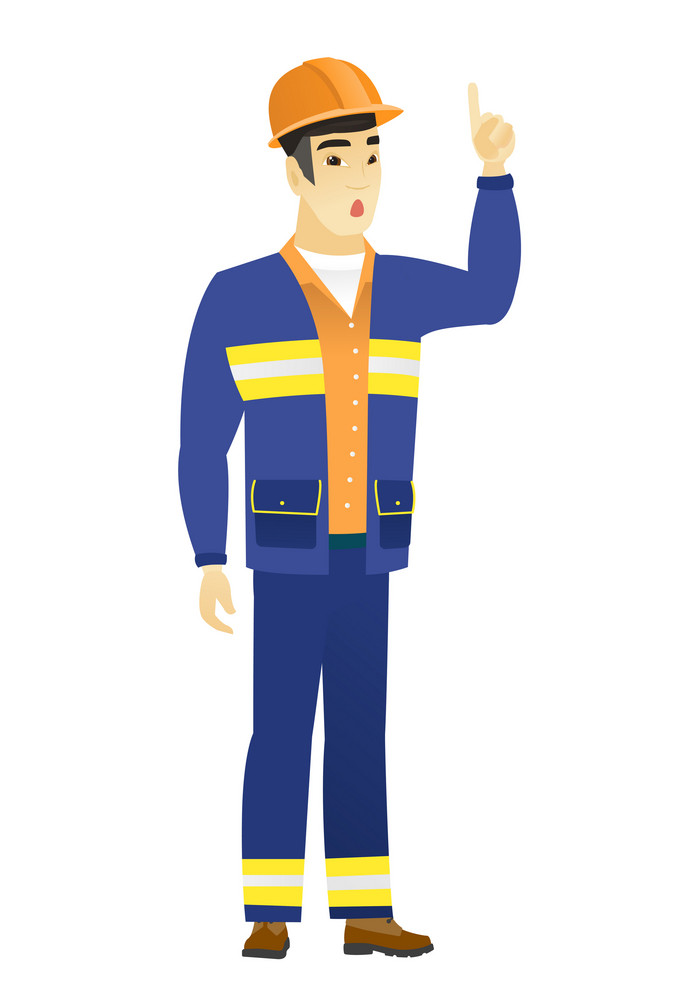 Asian builder with open mouth pointing finger up. Full length of young builder with open mouth came up with successful idea. Vector flat design illustration isolated on white background.