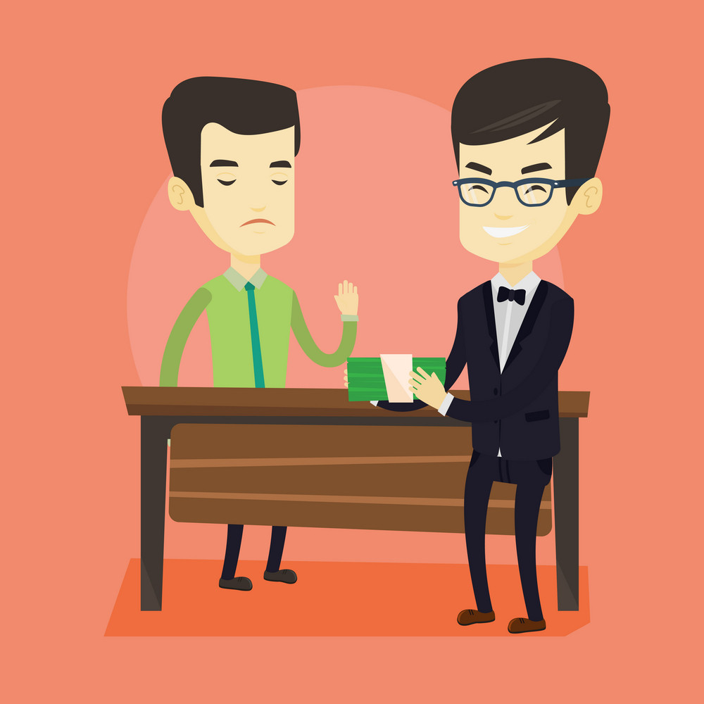 Asian business man giving a bribe. Uncorrupted business man refusing to take a bribe. Young man rejecting to take bribe. Bribery and corruption concept. Vector flat design illustration. Square layout.