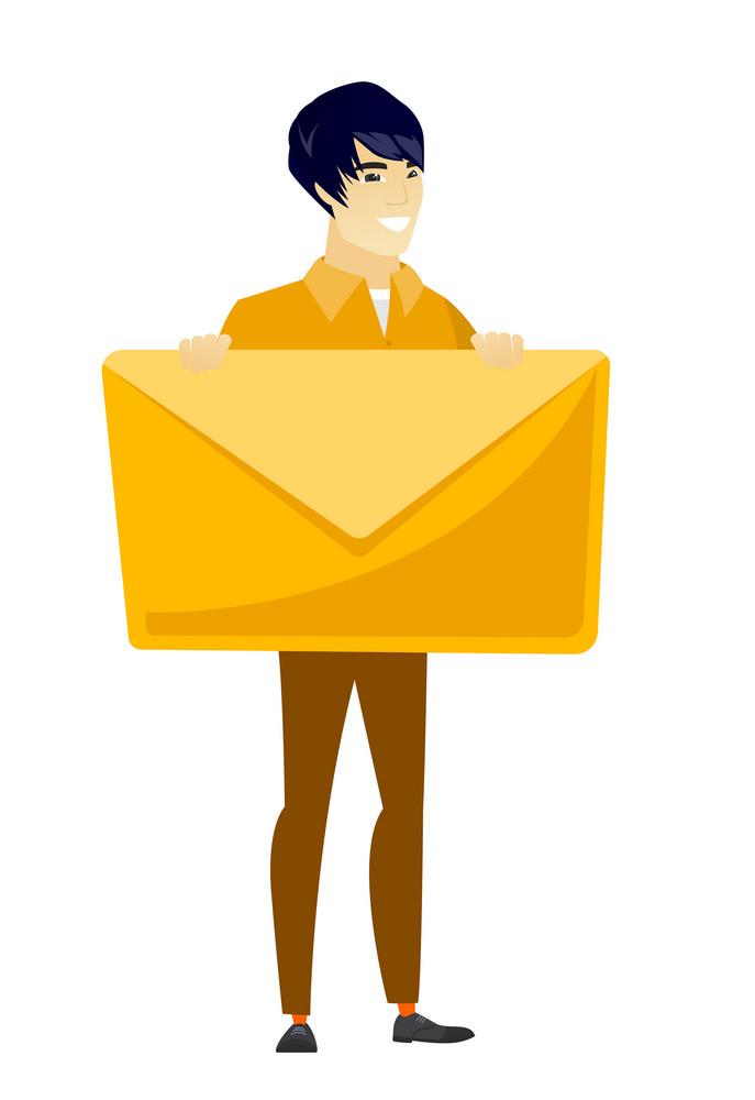 Asian business man holding a big envelope. Full length of business man holding a big envelope. Cheerful business man with big envelope. Vector flat design illustration isolated on white background.