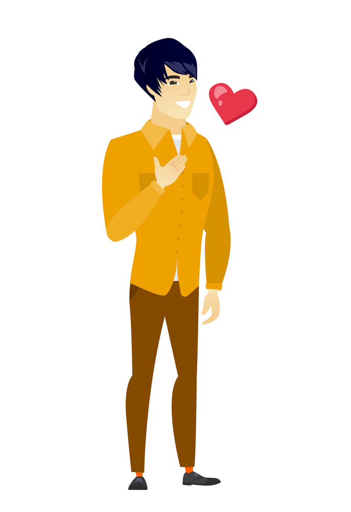 Asian business man holding hand on his chest. Full length of young happy business man with hand on his chest and heart flying nearby. Vector flat design illustration isolated on white background.