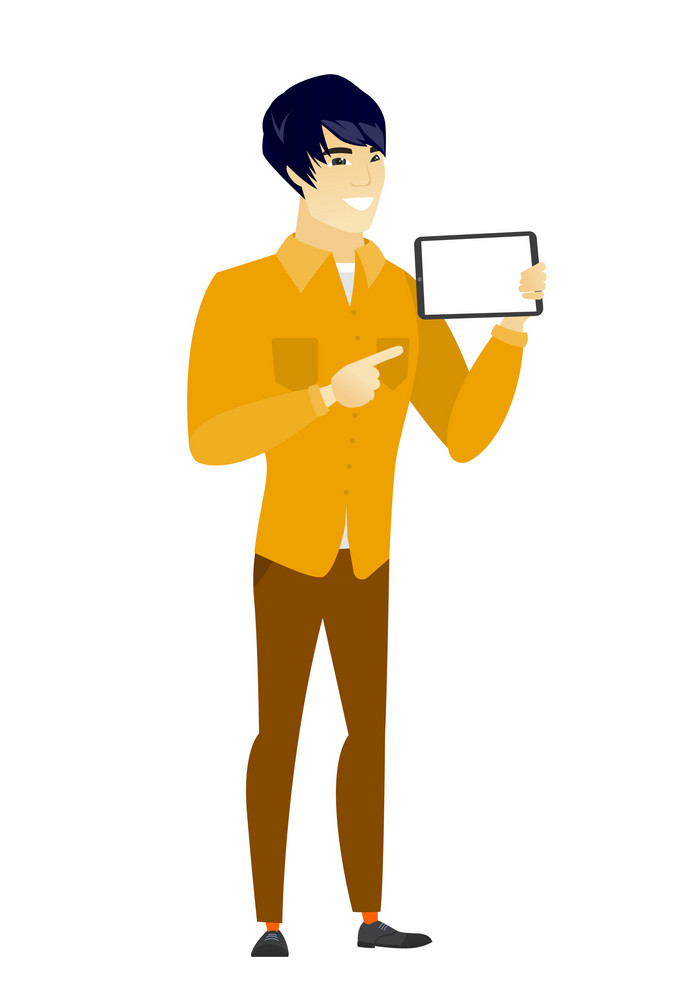Asian business man holding tablet computer. Full length of business man pointing at tablet computer. Business man with tablet computer. Vector flat design illustration isolated on white background.