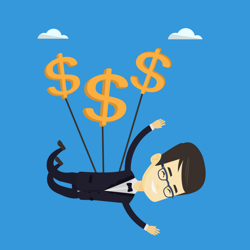 Asian business man in suit flying with dollar signs. Happy business man gliding in the sky with dollars. Business man using dollar signs as parachute. Vector flat design illustration. Square layout.