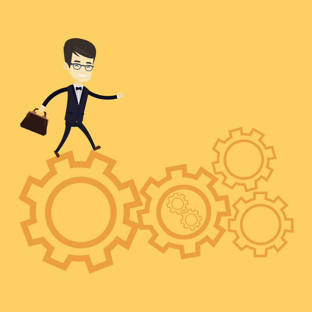 Asian business man in suit running on cogwheels. Business man running to success. Business man running in a hurry. Concept of moving to success. Vector flat design illustration. Square layout.