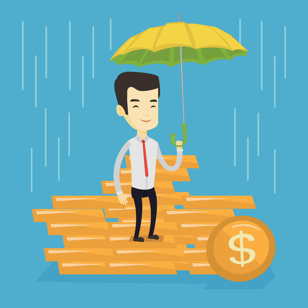 Asian business man insurance agent with umbrella. Insurance agent holding umbrella over golden coins. Business insurance and business protection concept. Vector flat design illustration. Square layout