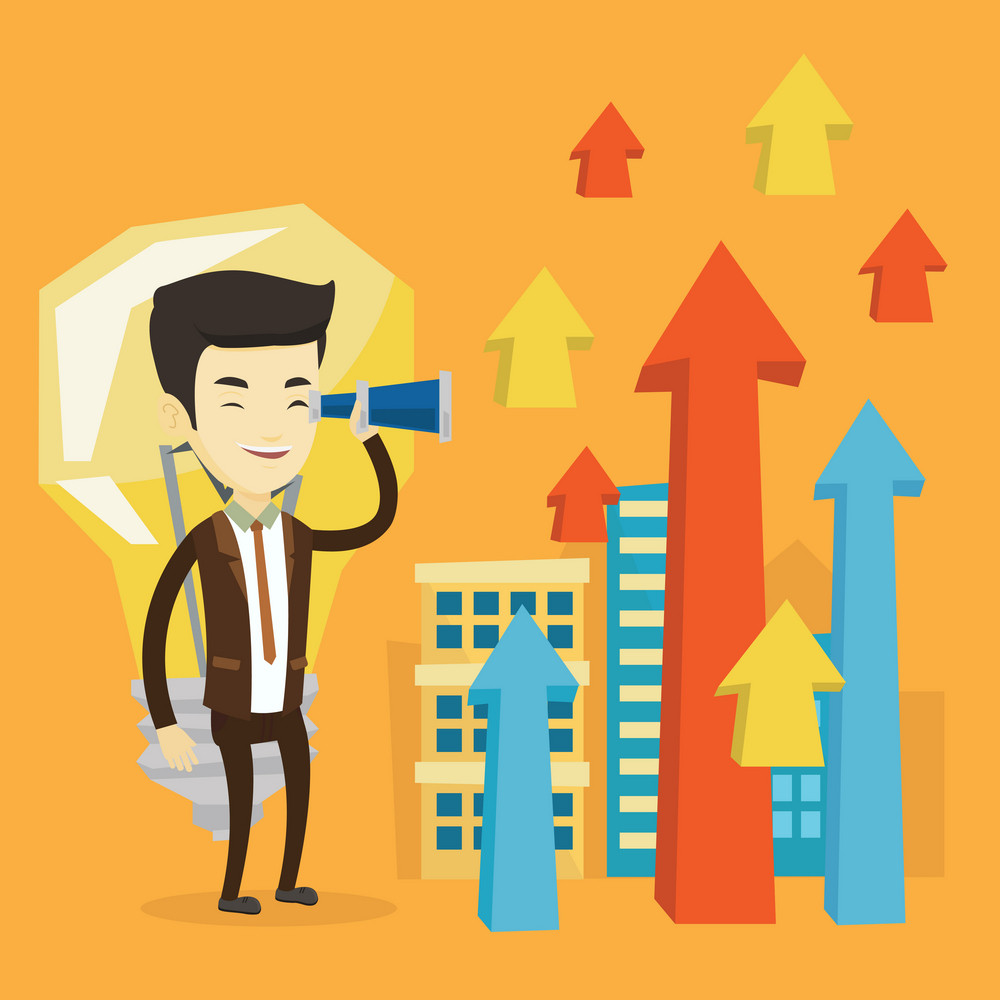 Asian business man looking through spyglass at arrows going up and idea light bulb. Business man looking for creative idea. Business idea concept. Vector flat design illustration. Square layout.