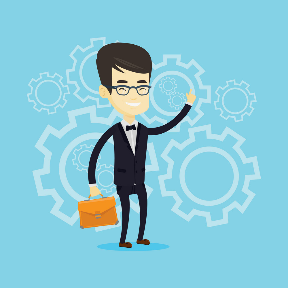 Asian business man pointing finger up because he came up with business idea. Businessman having creative business idea. Successful business idea concept. Vector flat design illustration. Square layout