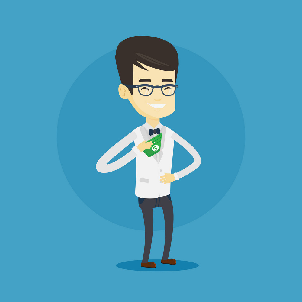 Asian business man putting money bribe in his pocket. Young business man hiding money bribe in jacket pocket. Bribery and corruption concept. Vector flat design illustration. Square layout.