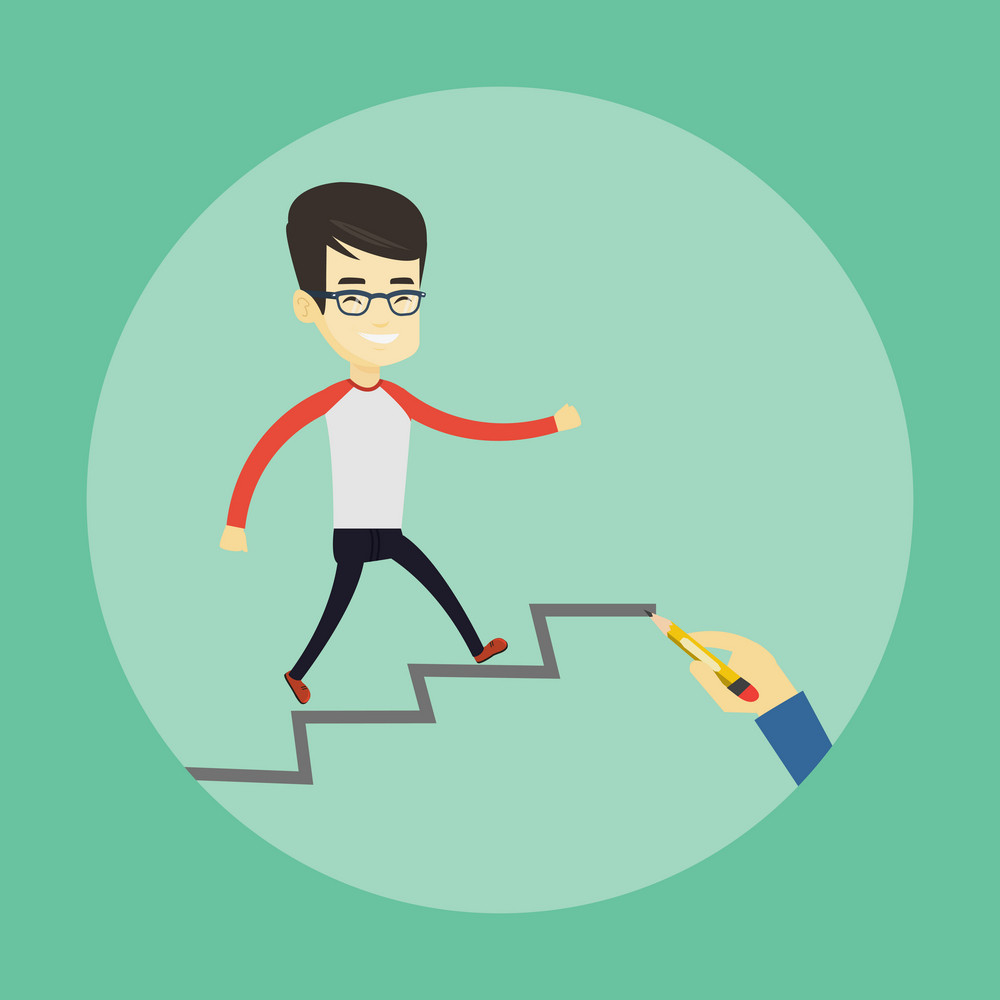 Asian business man running up the career ladder drawn by hand. Happy business man climbing the career ladder. Concept of business career. Vector flat design illustration. Square layout.