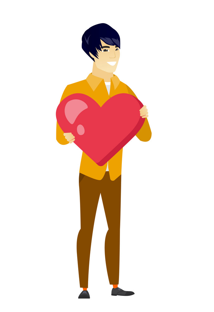 Asian business man showing a big red heart. Full length of young business man with heart shape. Happy business man holding a red heart. Vector flat design illustration isolated on white background.