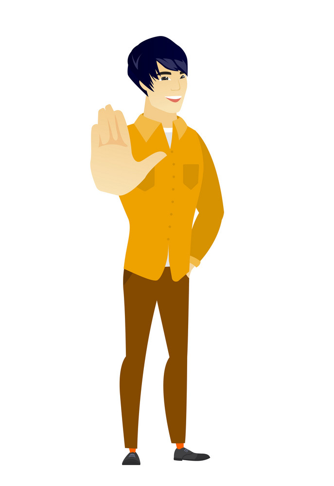 Asian  business man showing palm hand. Full length of business man showing palm hand. Business man making stop gesture by his palm. Vector flat design illustration isolated on white background.