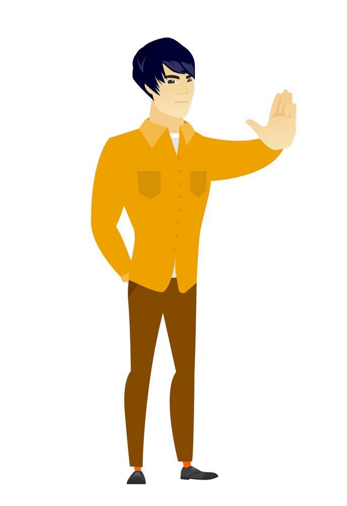 Asian business man showing stop hand gesture. Full length of business man doing stop gesture. Serious business man with a stop gesture. Vector flat design illustration isolated on white background.