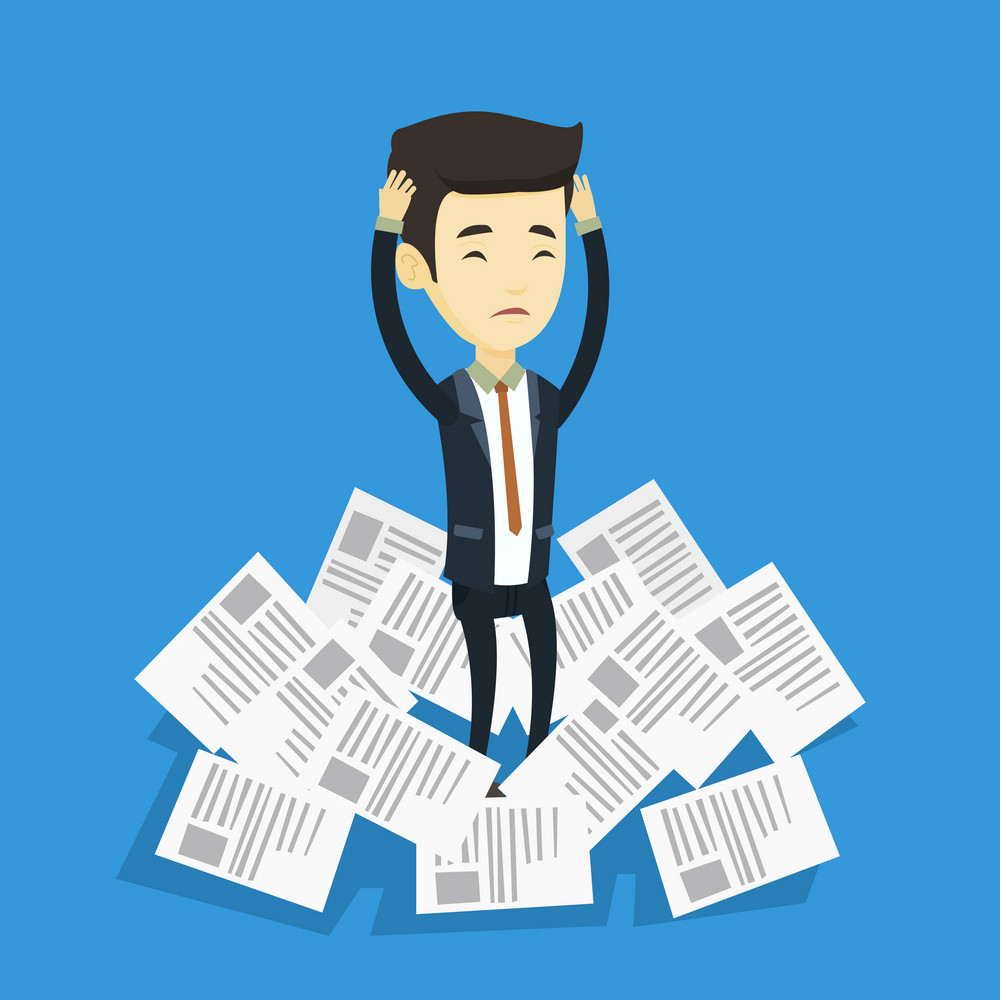 Asian business man surrounded by lots of papers. Overworked business man having a lot of paperwork. Stressed business man standing in the heap of papers. Vector flat design illustration. Square layout