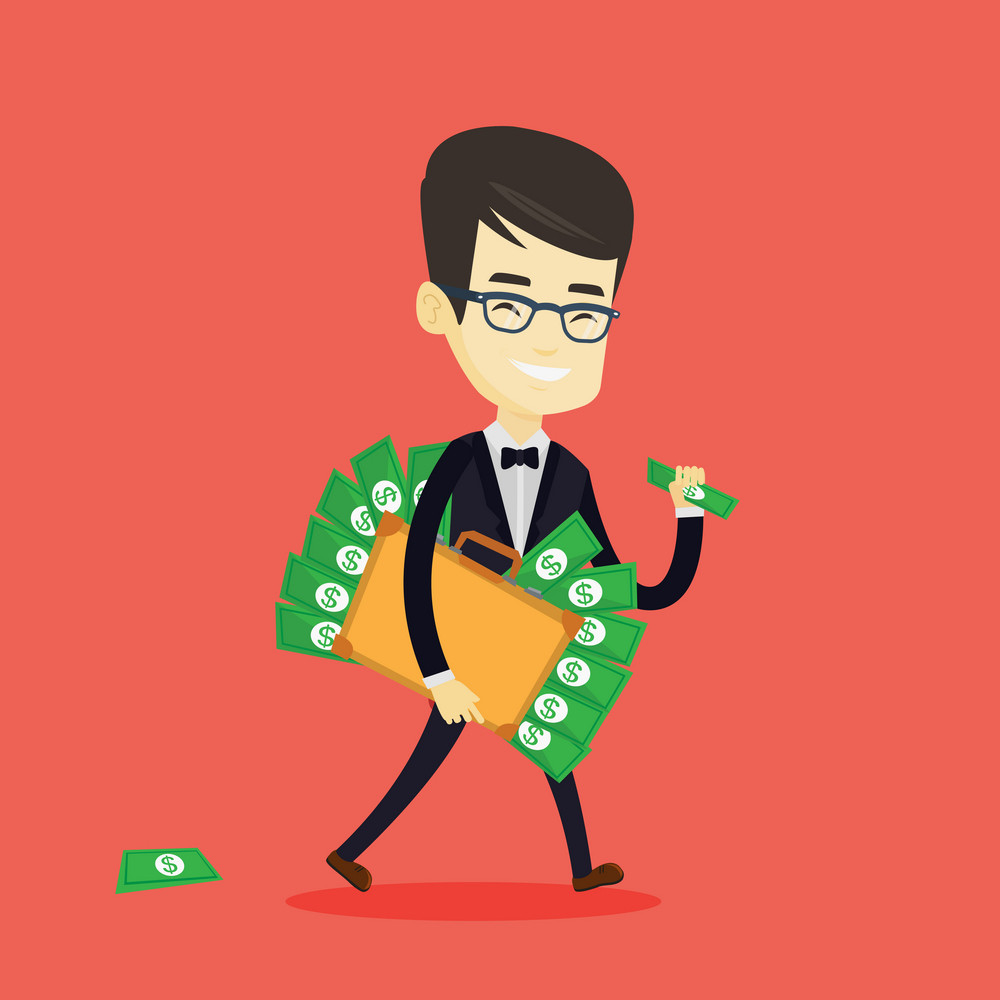 Asian business man walking with briefcase full of money and committing economic crime. Young business man stealing money. Economic crime concept. Vector flat design illustration. Square layout.