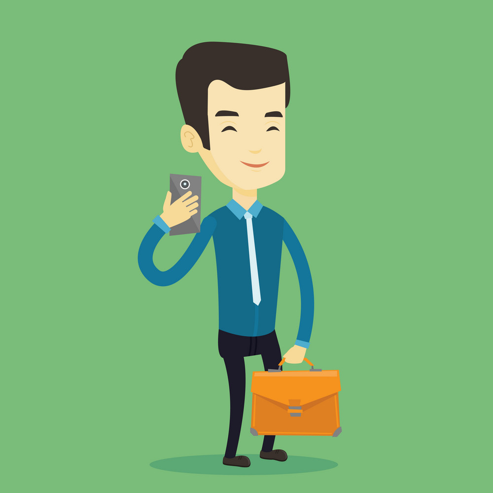 Asian business man with briefcase making selfie. Young business man taking photo with cellphone. Business man looking at smartphone and taking selfie. Vector flat design illustration. Square layout.