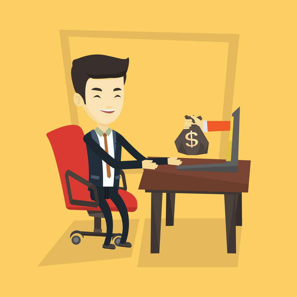 Asian business man working in office and bag of money coming out of laptop. Businessman earning money from online business. Online business concept. Vector flat design illustration. Square layout.