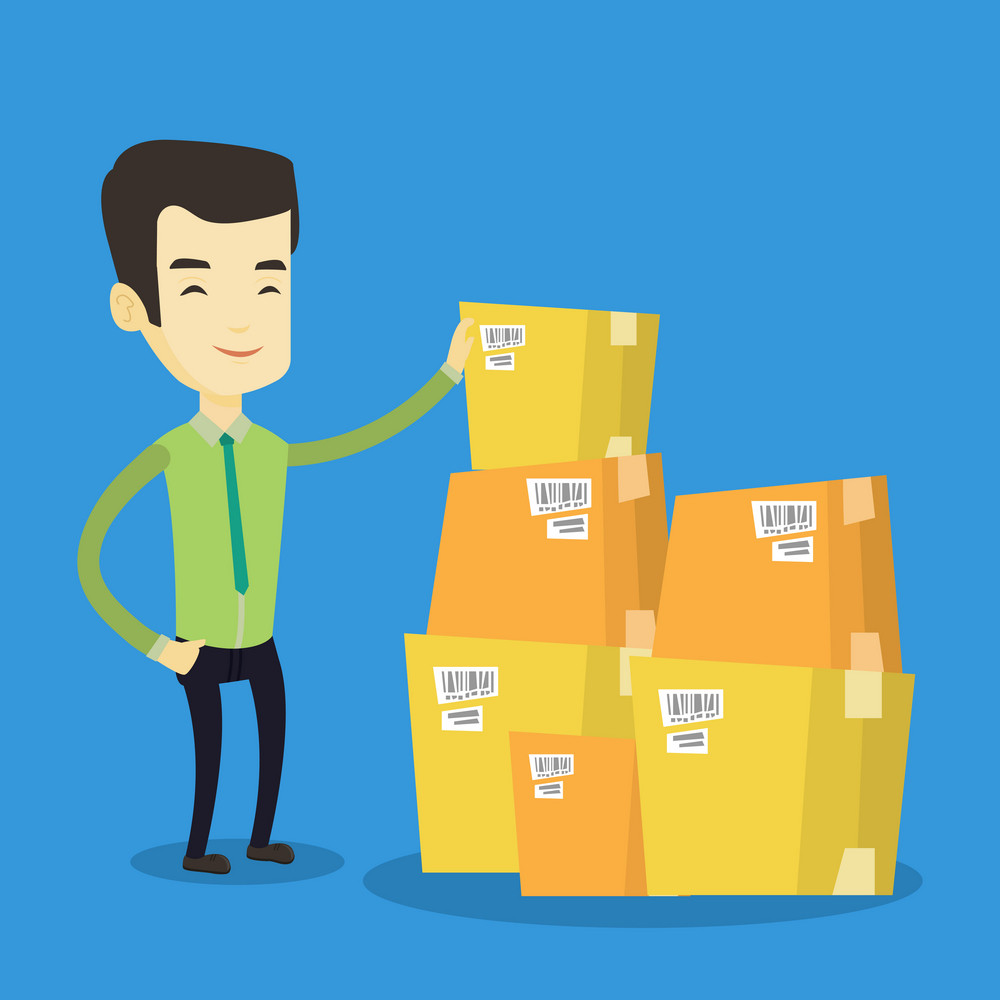 Asian business man working in warehouse. Business man checking boxes in warehouse. Young business man preparing goods for dispatch in warehouse. Vector flat design illustration. Square layout.