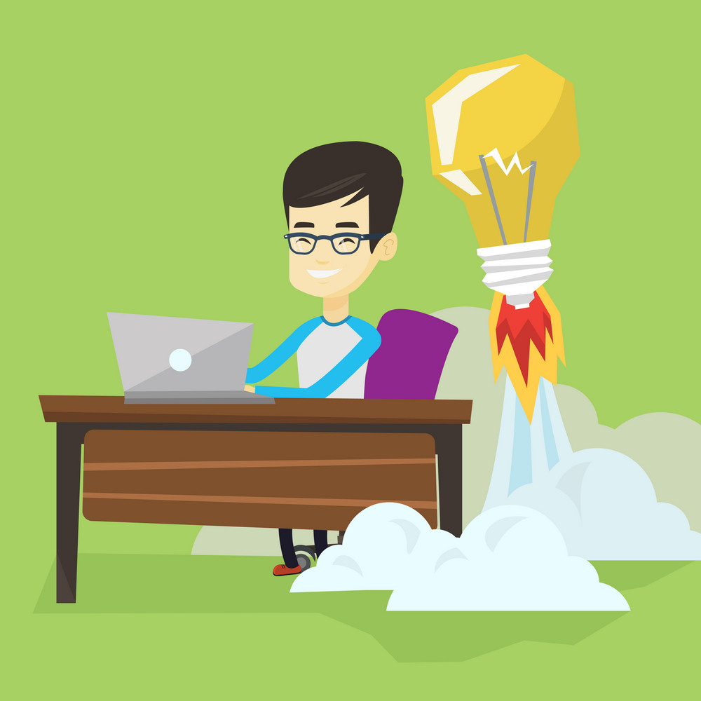 Asian business man working on laptop in office and idea bulb taking off behind him. Man having creative business idea. Successful business idea concept. Vector flat design illustration. Square layout.