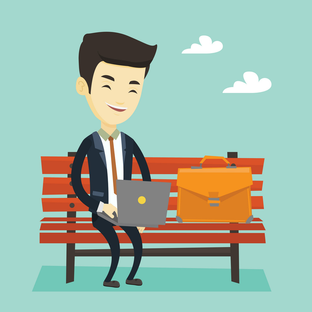 Asian business man working outdoor. Happy business man working on a laptop outdoor. Young business man sitting on a bench and working on a laptop. Vector flat design illustration. Square layout.