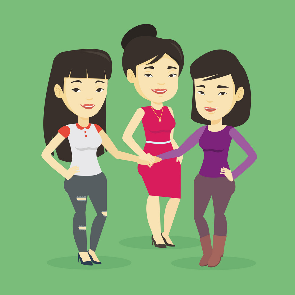Asian business people putting their hands togethis. Group of business people joining hands. Business women stacking their hands. Partnership concept. Vector flat design illustration. Square layout.