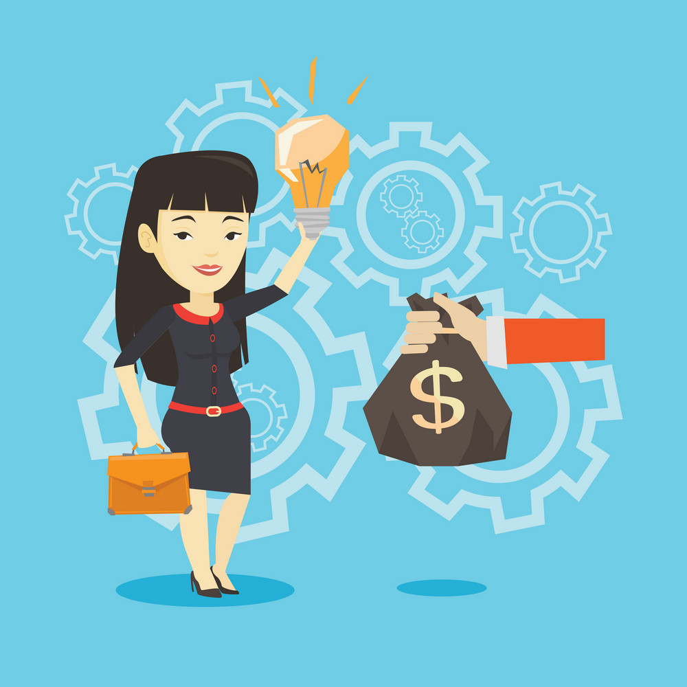 Asian business woman exchanging her business idea light bulb to money bag. Businesswoman selling her business idea. Concept of successful business idea. Vector flat design illustration. Square layout.