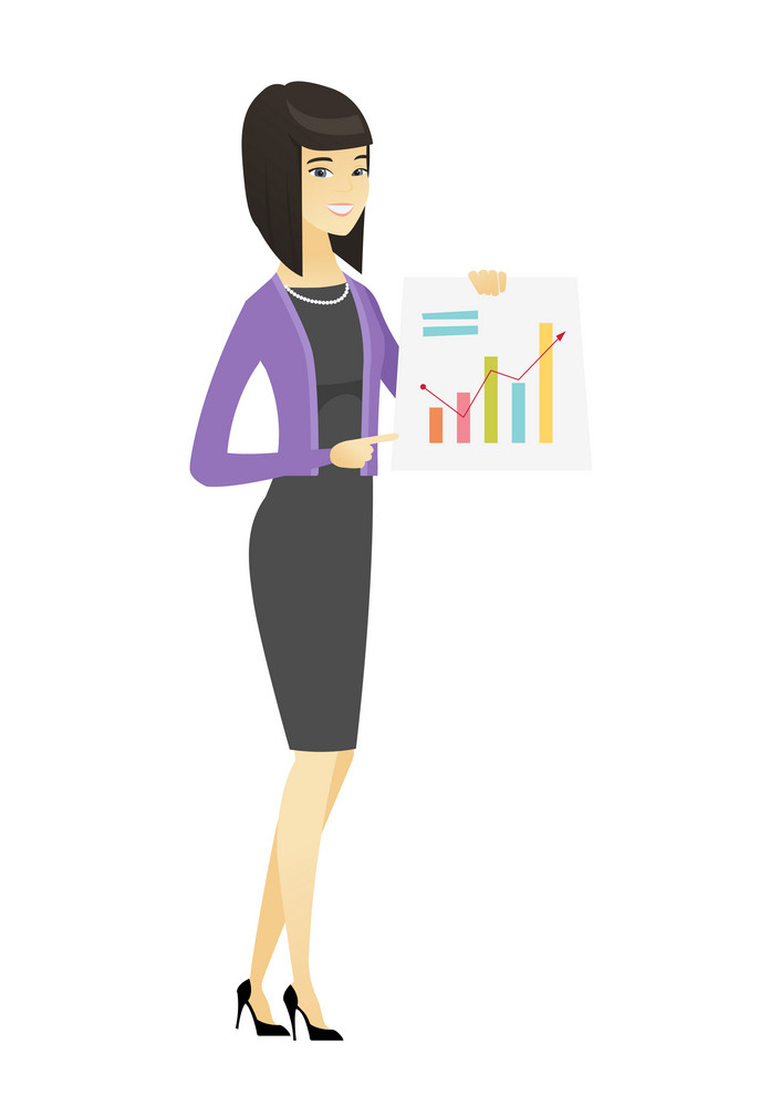 Asian business woman giving business presentation and showing financial chart. Full length of business woman pointing at financial chart. Vector flat design illustration isolated on white background.